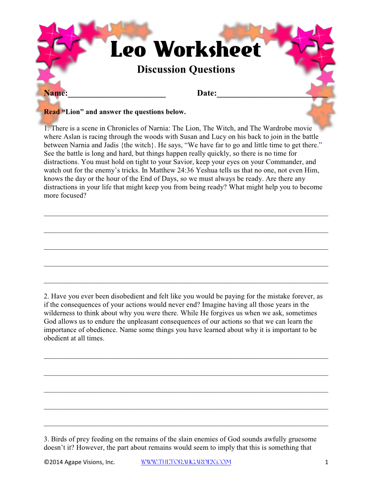 Leo Worksheet via @TheTorahGarden